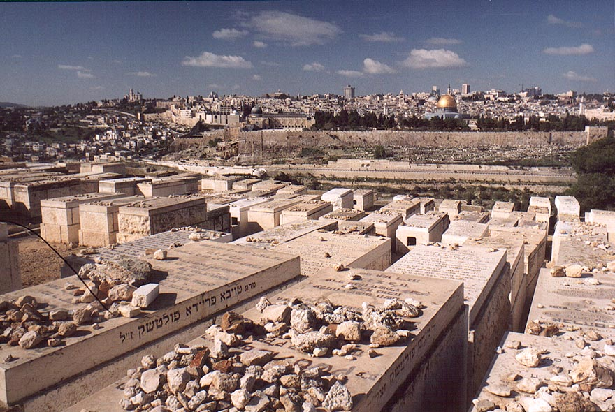 Jewish tombs on slopes of Mount of Olives. Jerusalem, the Middle East