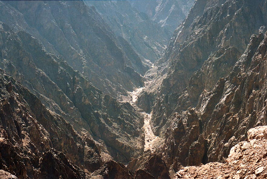 Narrow canyon through magmatic rock of Nahal...north-west from Eilat. The Middle East
