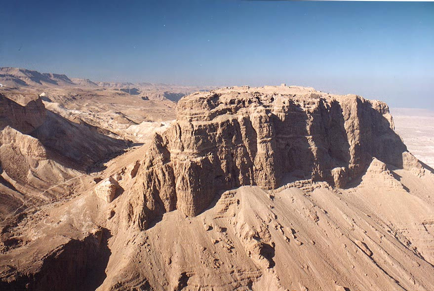 View of Masada hill north from Mount Eliazar. The Middle East