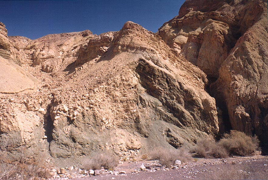 Soft green cliffs of Nahal Shani below Red canyon...north from Eilat. The Middle East