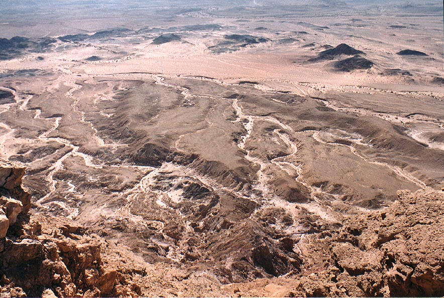 Ascending Mount Ardon in Ramon Crater (Makhtesh Ramon). The Middle East