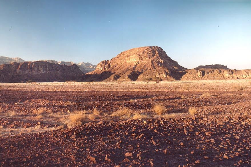 View of Timna stream and Sasgon hill at evening...north from Eilat. The Middle East