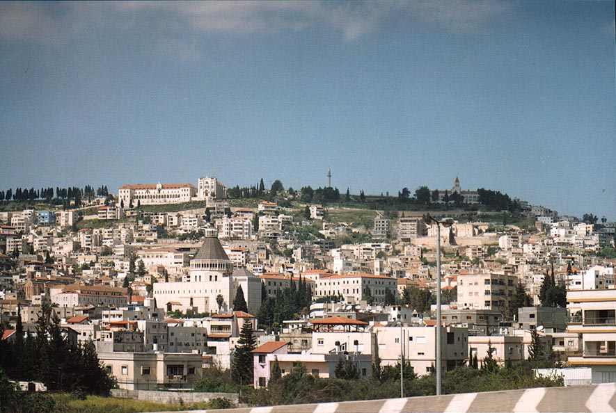 View of Nazareth with its churches from a road. The Middle East