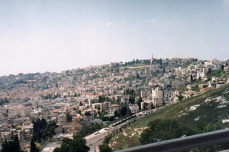 View of Nazareth from a road. The Middle East
