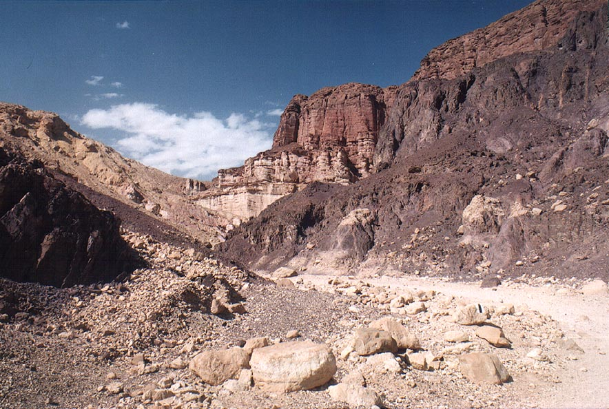 A trail 20453 in a valley west from Mount Amir, 5 miles north from Eilat. The Middle East