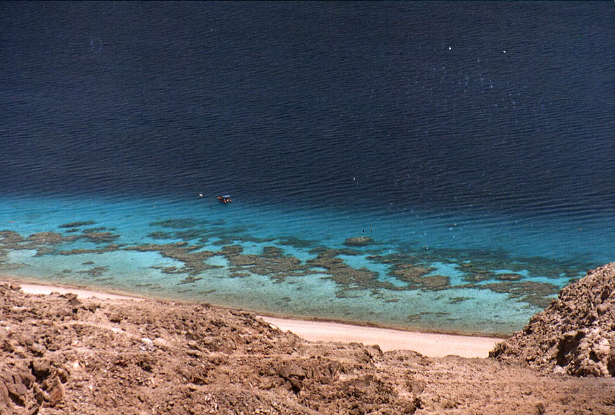 Coral beach south from Eilat from ascent to Mount...the Field School. The Middle East