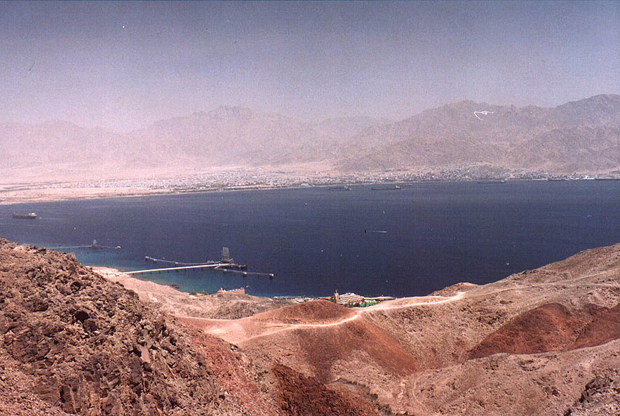 Gulf of Aqaba of the Red Sea viewed from ascent...Eilat Field School. The Middle East