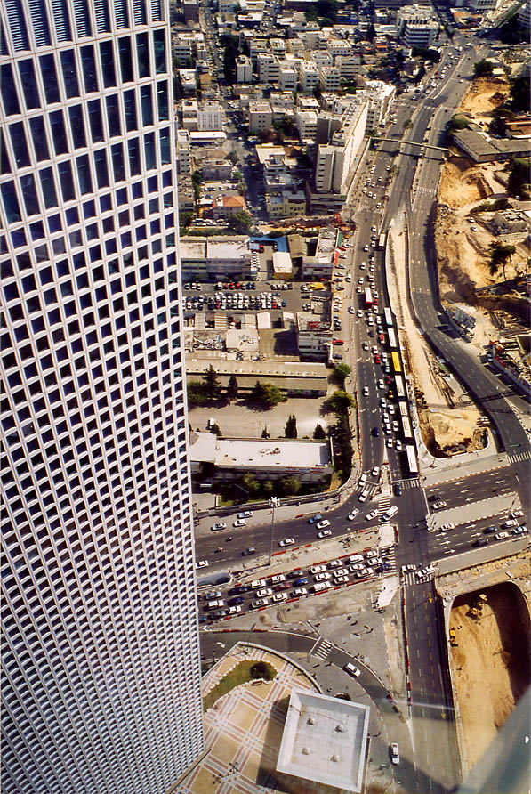 Rectangular tower and Ayalon Highway north from...Complex. Tel Aviv, the Middle East