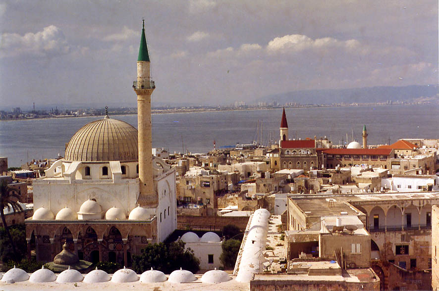 Great Mosque and Old City, view from the Citadel. Akko, the Middle East