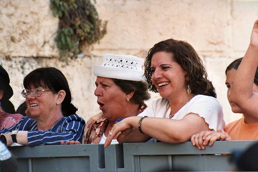 Watching Bar mitzvah ceremony at Western Wall...section. Jerusalem, the Middle East