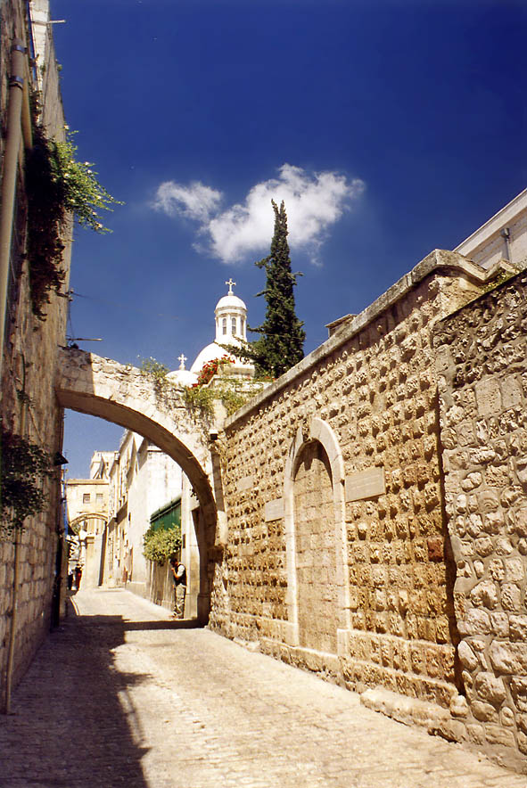 Via Dolorosa Rd. in Old City. Jerusalem, the Middle East