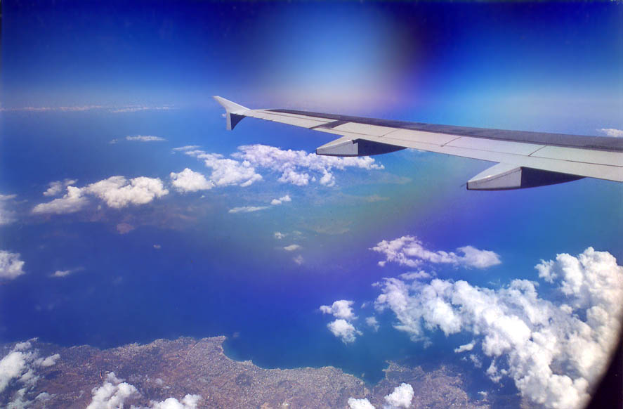 Plane from Paris to Tel Aviv, view from a window through polarizer