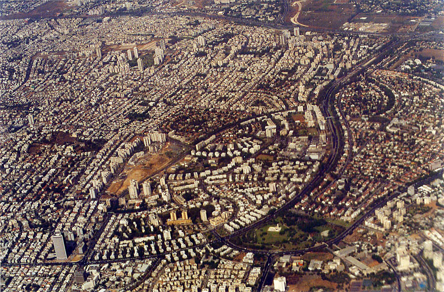 Suburbs of Tel Aviv, view from a window of a plane