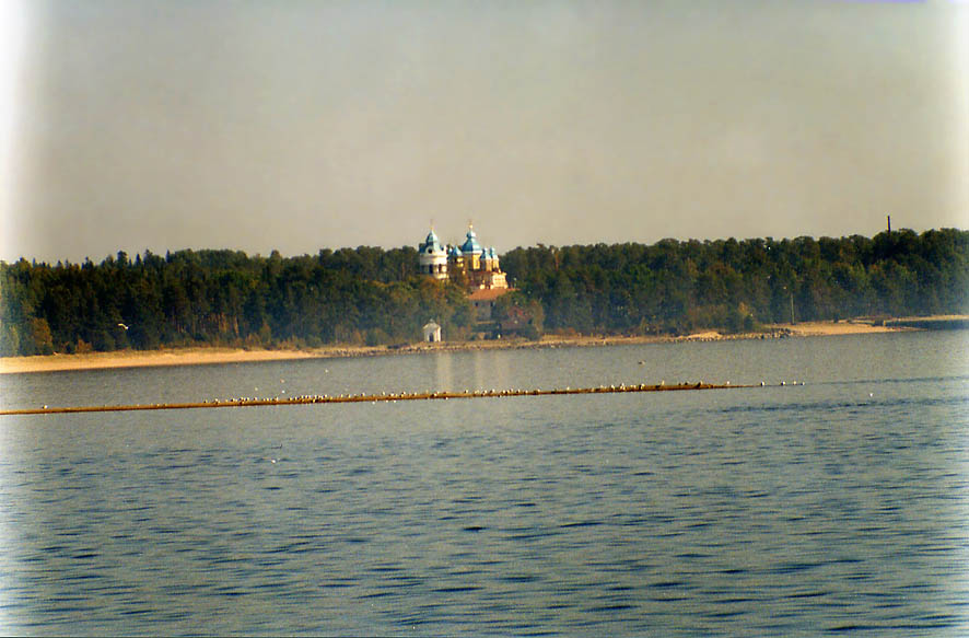 A pier of Konevets Island in Ladozhskoe Lake north from St.Petersburg, Russia