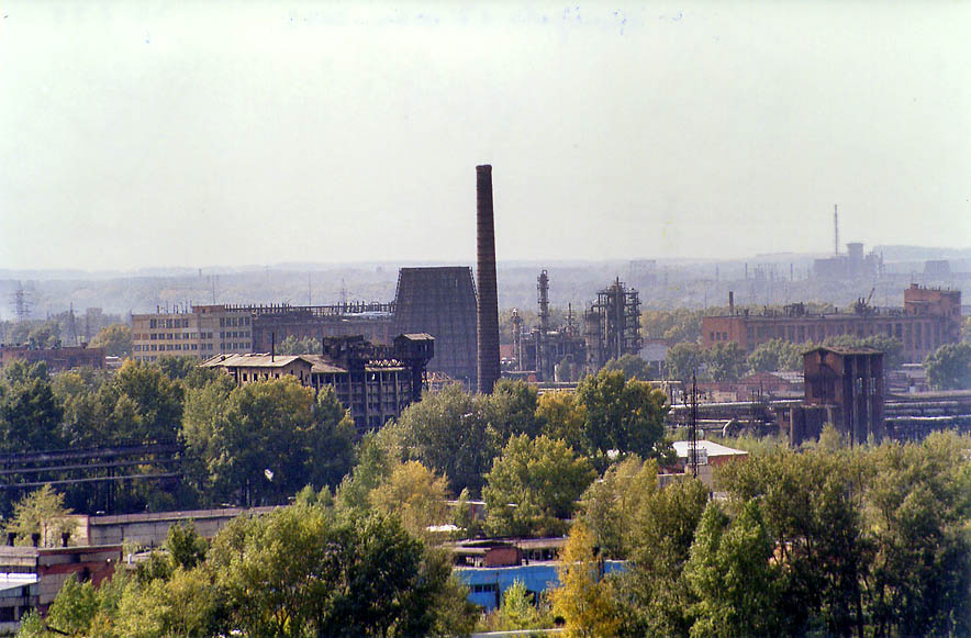 Coal factories near Tom' River in Kemerovo in Siberia. Russia