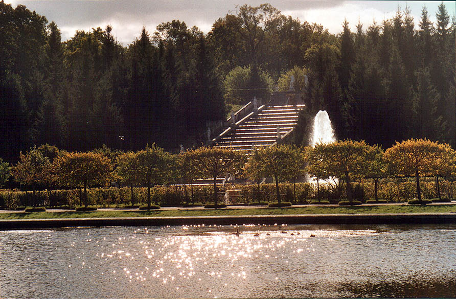 Golden Mount Cascade of fountains in Peterhof, a...now a suburb of St.Petersburg. Russia