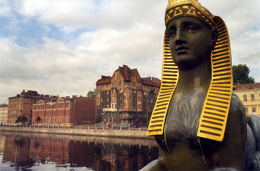 A sphinx on Egypt Bridge across Fontanka River. St.Petersburg, Russia 2002