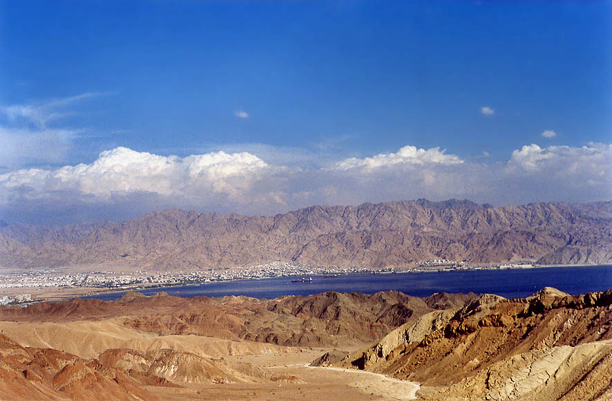 "View of Red Sea and Akaba from ""knife trail"" (no...miles west from Eilat. The Middle East"