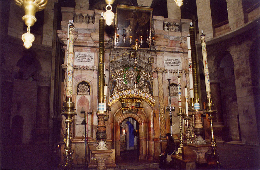 The sepulchre under a dome of the Church of the Holy Sepulchre. Jerusalem, the Middle East