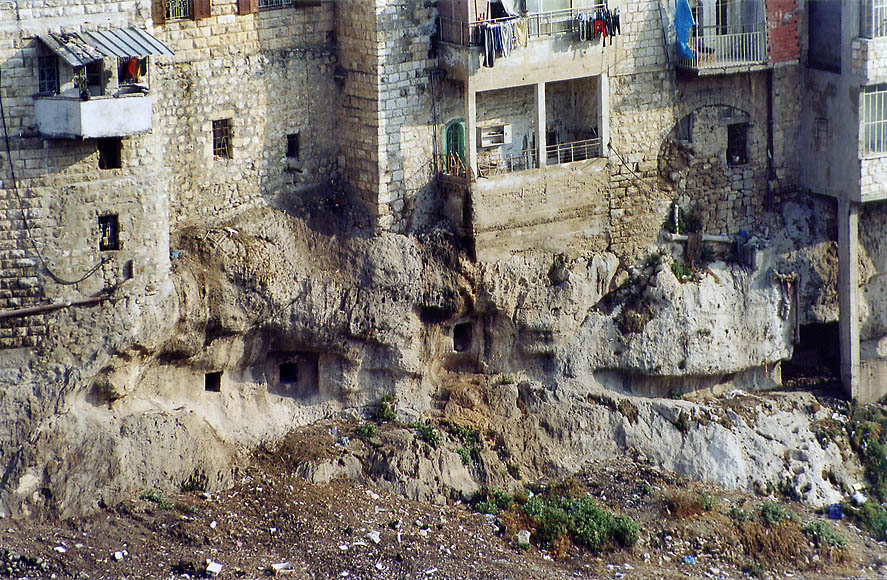Ancient burial caves of Silwan (Shiloah) village...Ofel Rd.. Jerusalem, the Middle East
