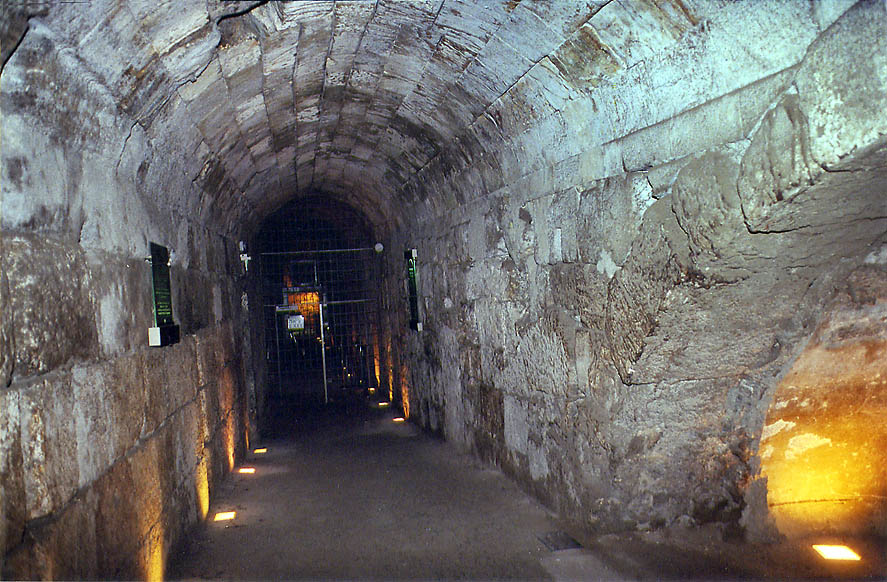 Underground passage of Western Wall Tunnel near...end. Jerusalem, the Middle East