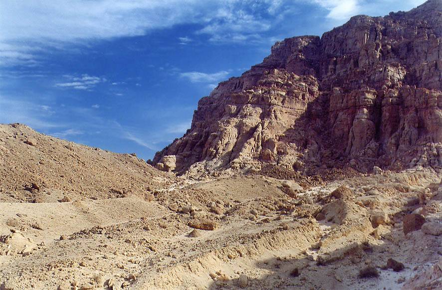 A small wadi from a trail below western cliffs in...north from Eilat. The Middle East