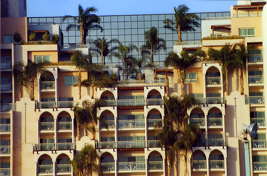 A hotel in Eilat from sea promenade. The Middle East
