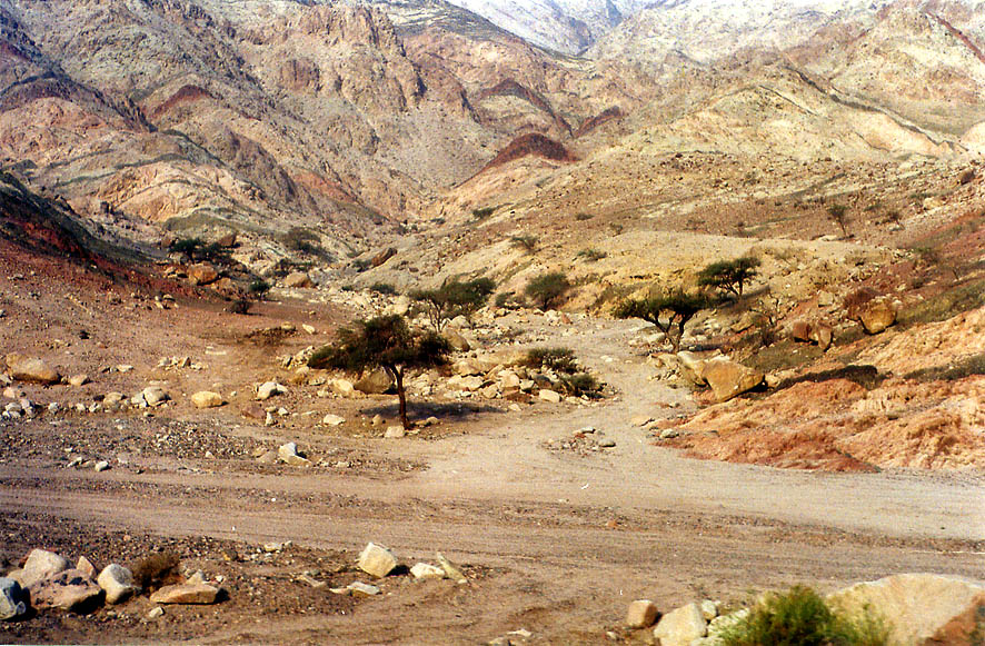 Desert along a road north from Akaba, view from a bus. Jordan