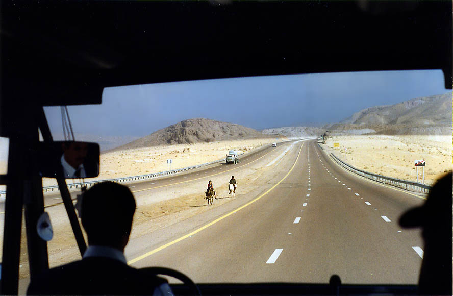 A road from Akaba to Petra, view from a bus. Jordan