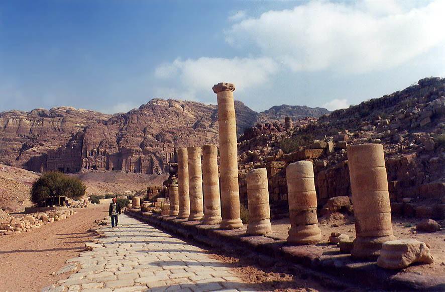 Roman colonnaded street Cardo in Petra. Jordan
