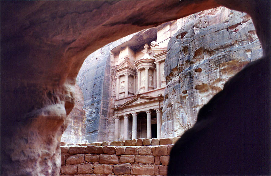 View of the Treasure tomb from another small tomb...by our Bedouin guide). Petra, Jordan