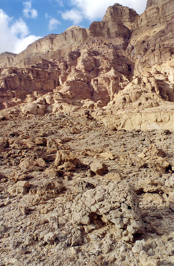 Foot of Timna Cliffs in western Timna Park, 13 miles north from Eilat. The Middle East