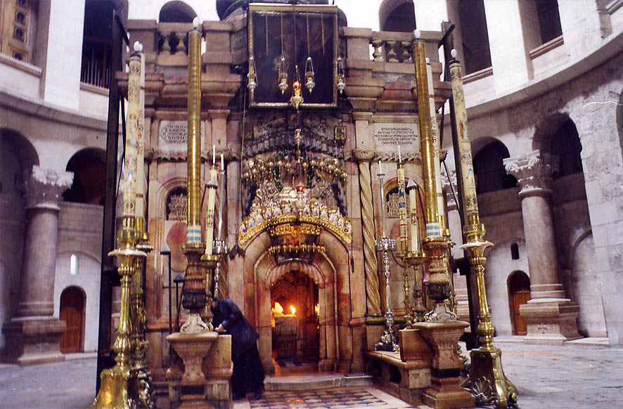 The sepulchre under a dome of Church of Holy Sepulchre. Jerusalem, the Middle East