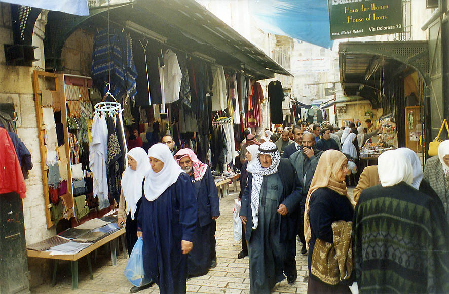 Moslems returning after a Friday worship through...Old City of Jerusalem. The Middle East