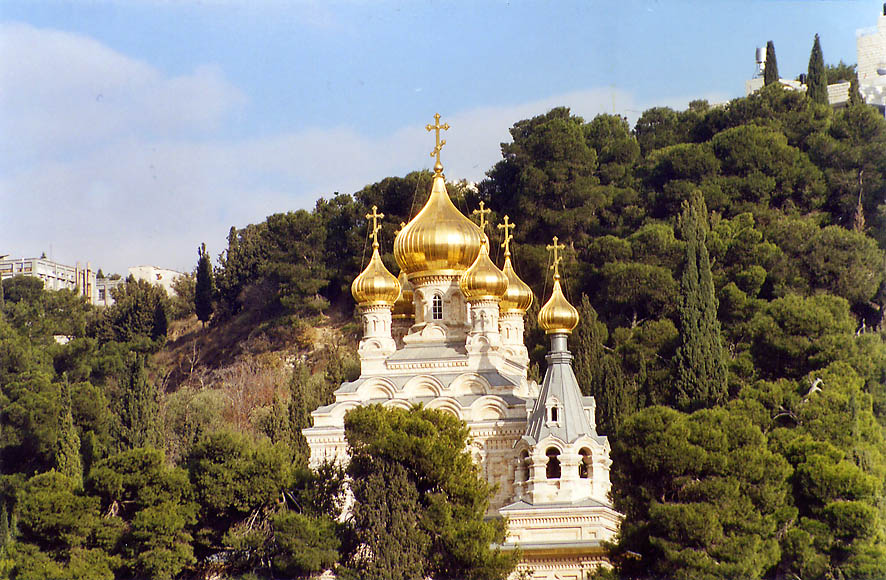 Russian orthodox Church of Mary Magdalene on...Ofel road. Jerusalem, the Middle East