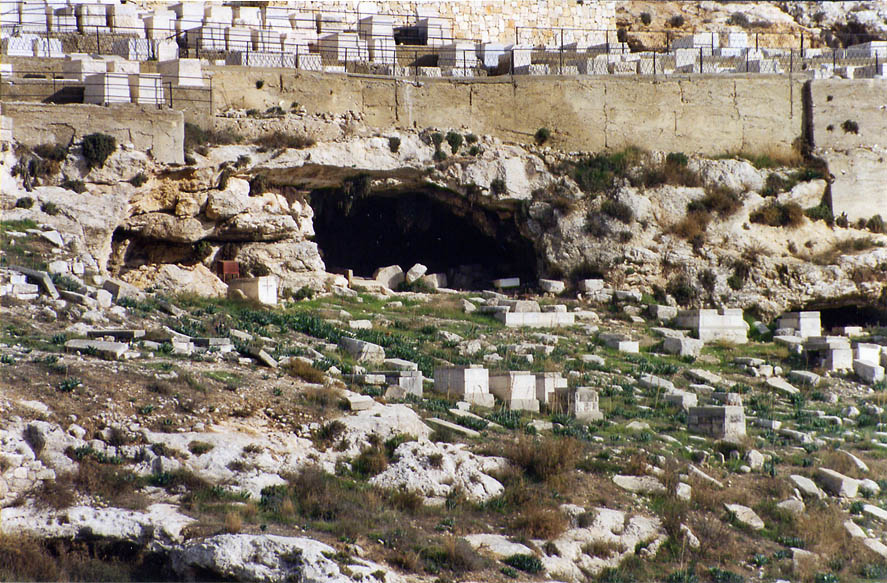 Some upper cave of an ancient Jewish cemetery in...Ofel road. Jerusalem, the Middle East