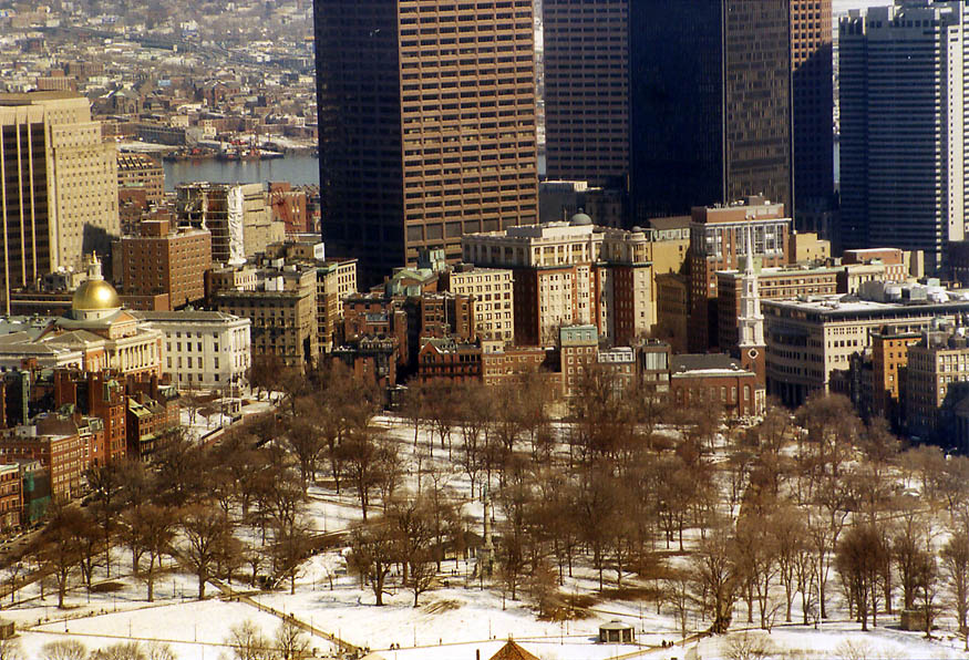 Boston Common and Financial District from Skywalk of Prudential Tower. Massachusetts