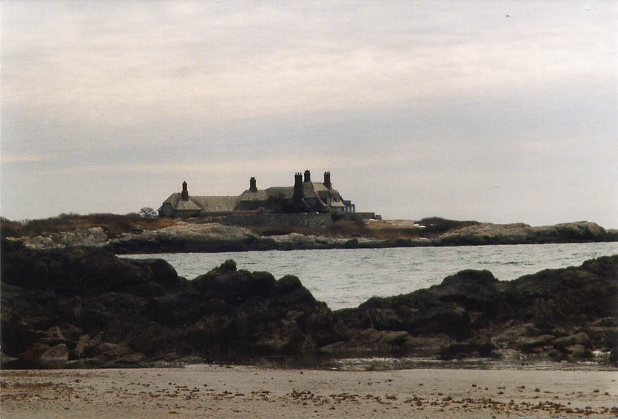 The Waves Mansion from Bailey's Beach in Newport. Rhode Island