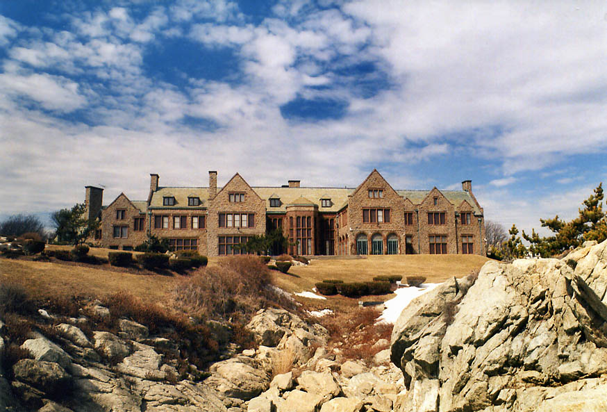 Rough Point Mansion from a bridge of Cliff Walk in Newport. Rhode Island