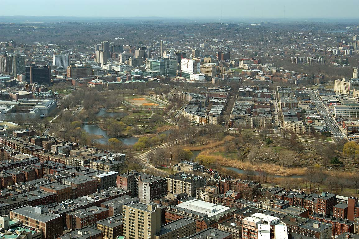 Muddy River and Fenway from observatory of Prudential Tower. Boston, Massachusetts