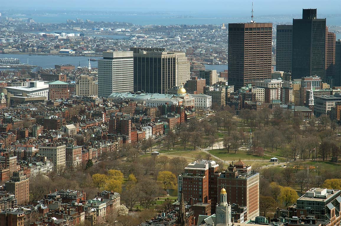 Boston Common and Beacon Hill from observatory of Prudential Tower. Boston, Massachusetts
