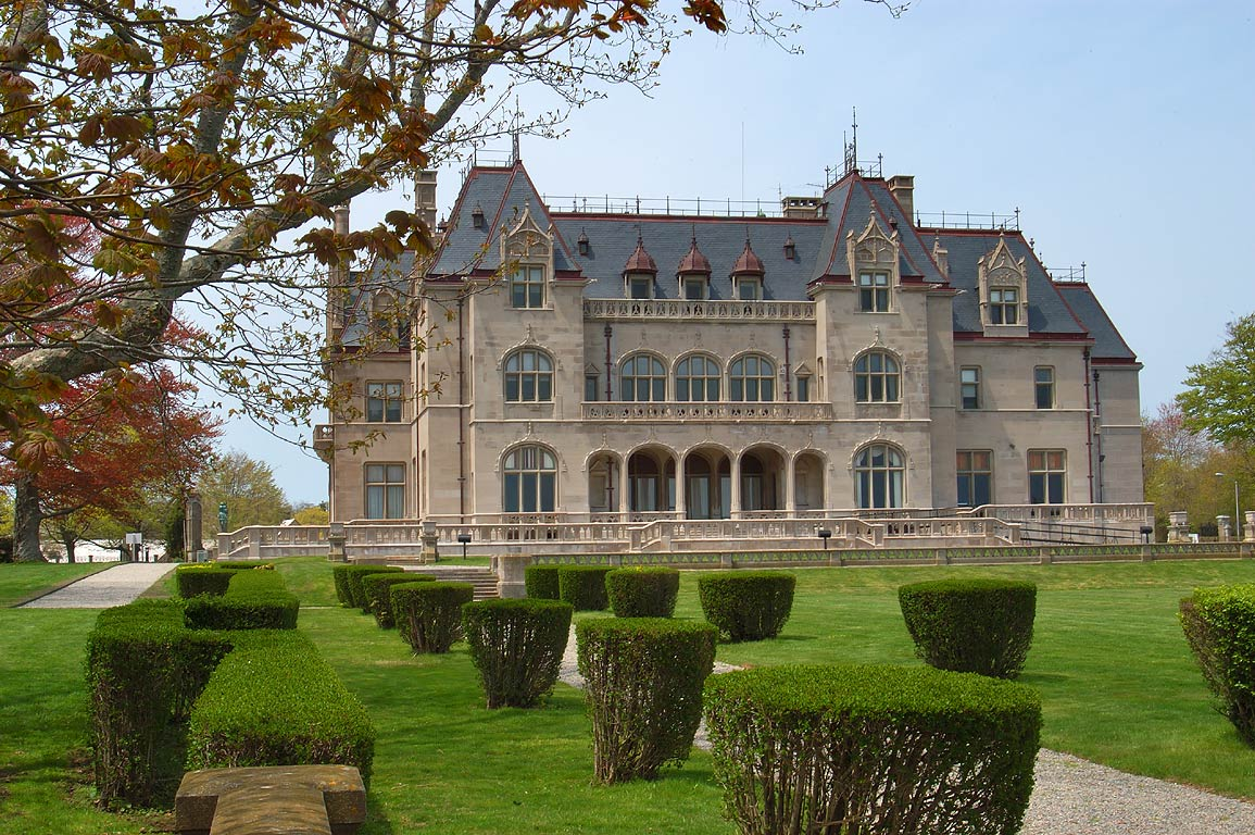 Ochre Court Mansion from Cliff Walk in Newport. Rhode Island