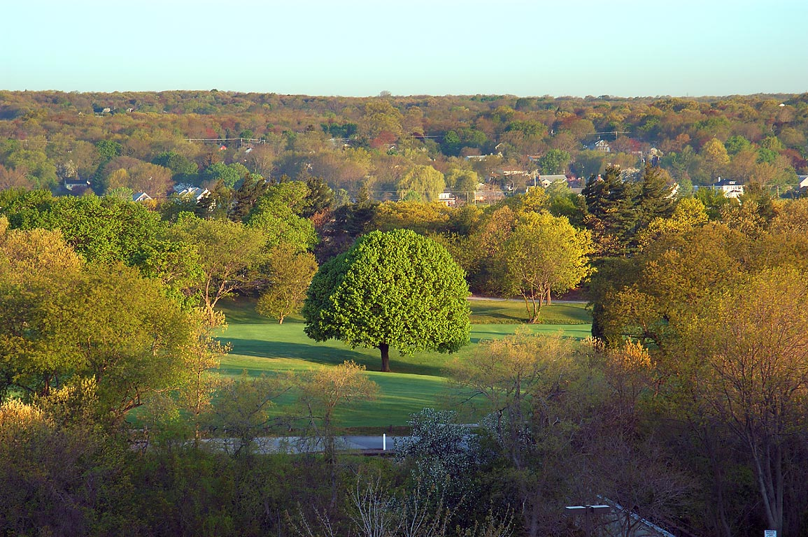 Country Club golf course from an apartment in...Fall River at morning. Massachusetts