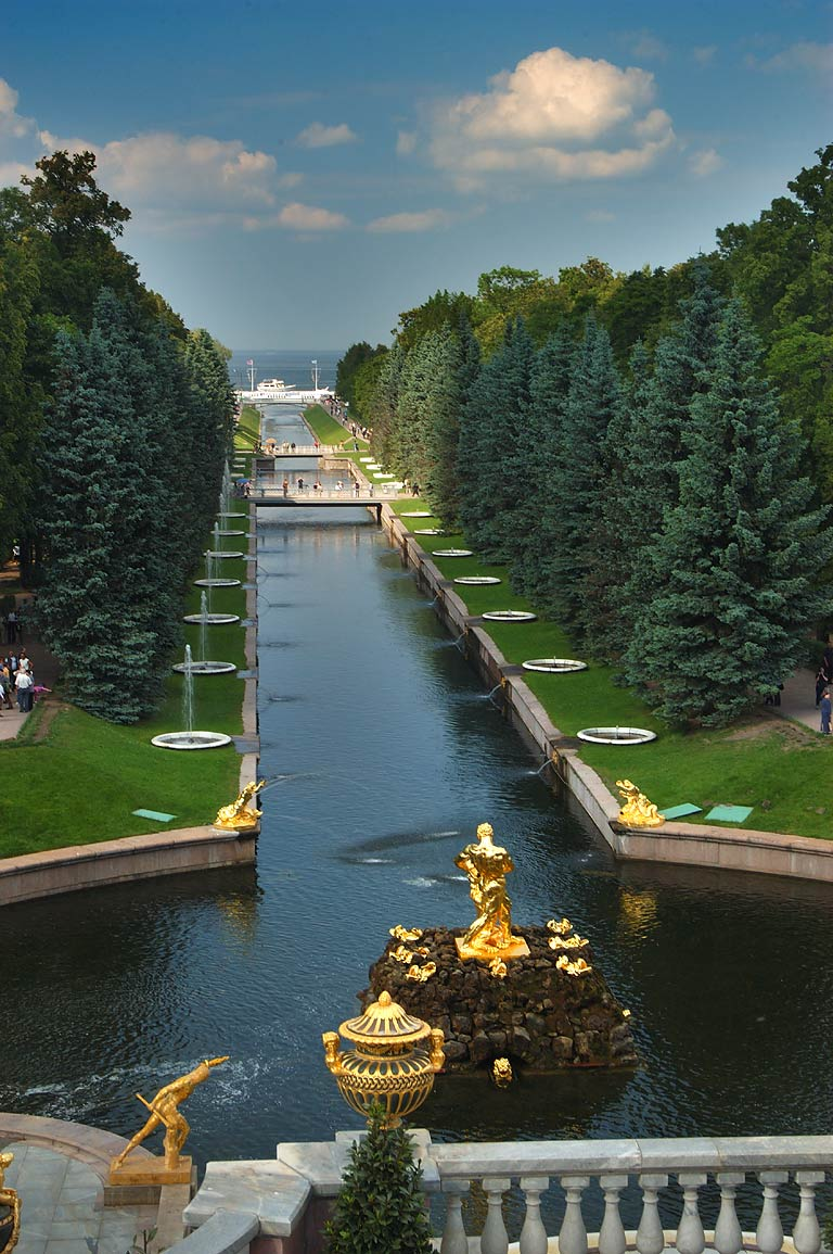 Half-closed fountains of Grand Cascade in Peterhof, a suburb of St.Petersburg. Russia