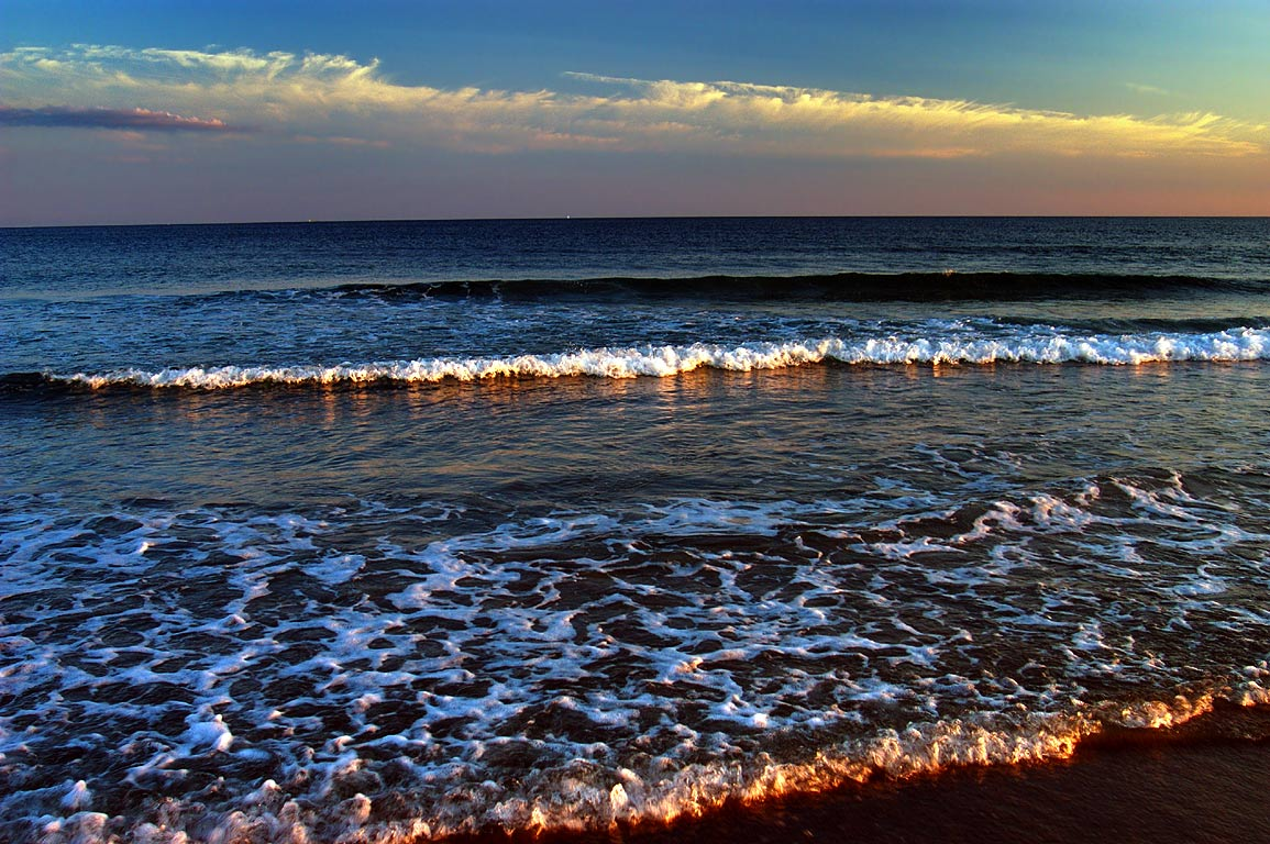 Ocean from South Shore Beach at evening (7:17 p.m.). Little Compton, Rhode Island