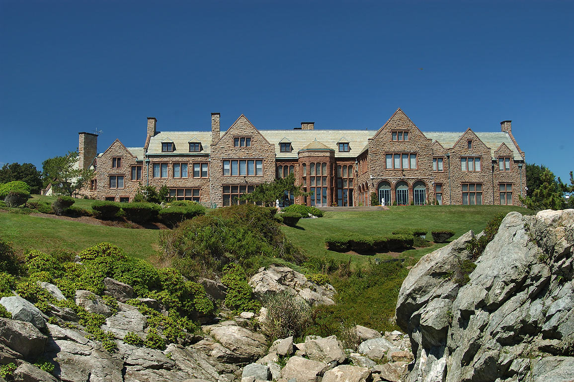 Rough Point Mansion from a bridge of Cliff Walk trail in Newport. Rhode Island