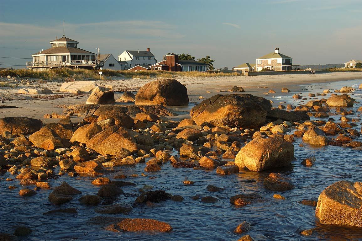 A beach west from Acoaxet at evening. Massachusetts