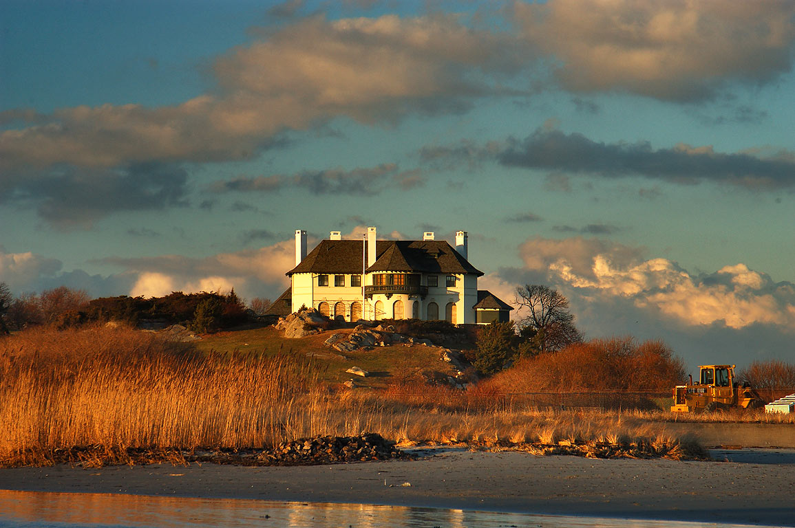 High Tide Mansion at Atlantic Ave. from Bailey Beach in Newport. Rhode Island