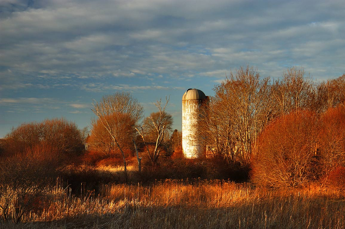 A silo from Snell Rd. bridge across Sisson Brook...Main Rd.. Little Compton, Rhode Island