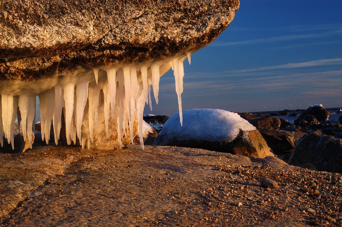Icicles on the coast of Atlantic Ocean in Acoaxet...the end of River Rd.. Massachusetts
